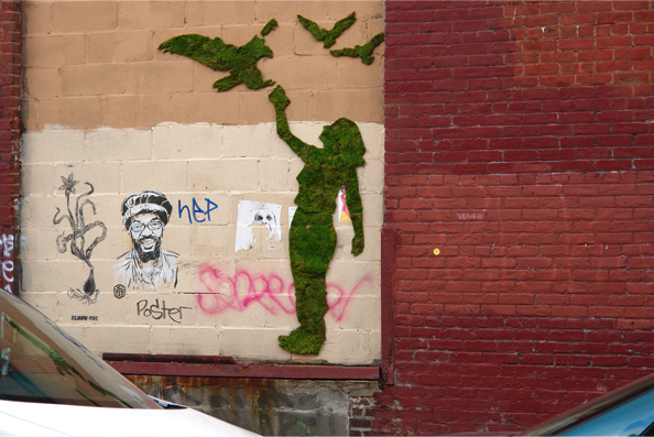 street art -- silhouette of woman raising her arm for hawk to land on